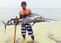 Bali spear-fishing and surfing